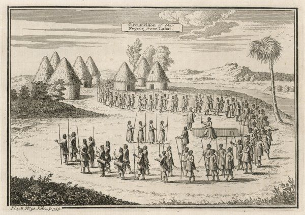 Circumcision is a crucial rite of passage in most African societies, the occasion for solemn ceremonies such as this tribal procession in south or west Africa