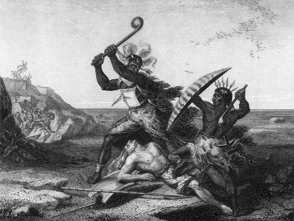 Combat between warring tribes: cannibals of the Amalemos people fight the Bechuanas in Africa. Date: 18th Century