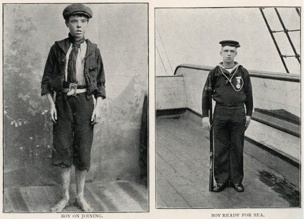 Before (on joining) and after (ready for sea) photos of a boy recruit on the Training Ship Wellesley, on the River Tyne at North Shields, Northumberland. In 1868, James Hall and other local businessmen set up a charity to provide shelter for Tyneside waifs