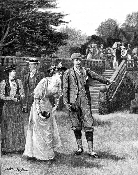 Engraving showing two young couples enjoying a game of bowls on the lawn of an English country house, c.1893