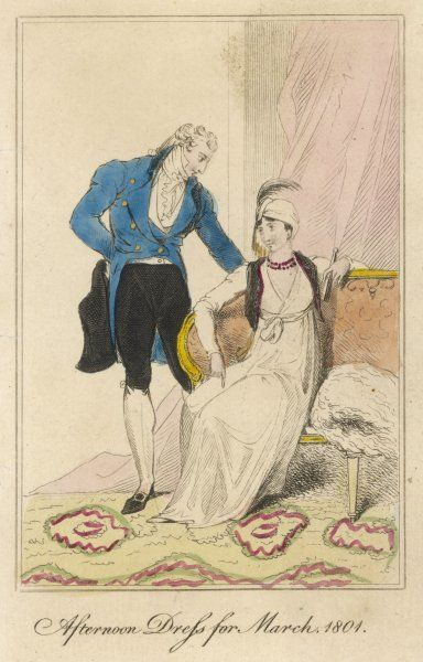 Man: blue coat with tails & gold buttons, white stockings, waistcoat & high stock, black breeches. Woman: simple white gown with wrap-over corsage, white turban & aigrette