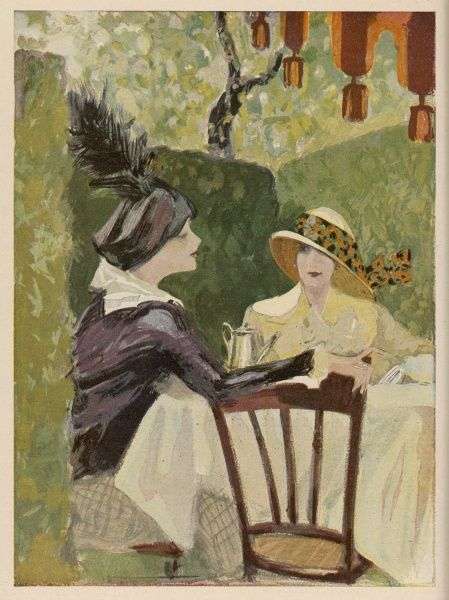Two ladies taking afternoon tea in a sunny tea garden