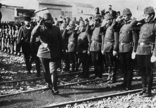 Ahmed Jemal (Djemal, Cemal) Pasha (1872-1922), Commander-in-Chief of the Fourth Ottoman Army, seen here inspecting troops during the First World War.  circa 1915