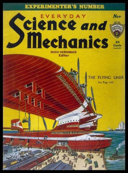 Thinking big, and way beyond the giant flying-boats of the 1930s is this massive 'flying liner' which carries vehicles in its wings, freight and passengers in its twin hulls