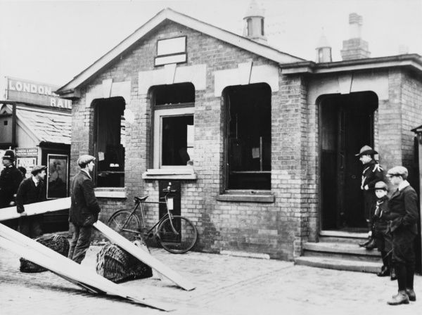 Damage to the Post Office at Great Yarmouth, caused by a Zeppelin air raid during World War I in 1915