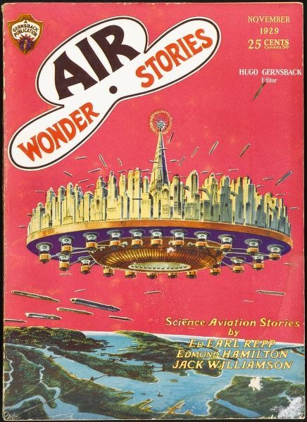 'CITIES IN THE AIR' (Edmond Hamilton) - New York becomes an airborne 'travelling city' which is elevated above the Earth's surface to avoid pollutants