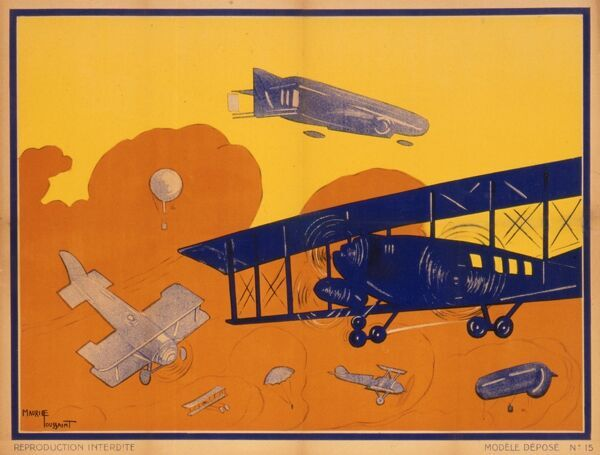 French poster depicting a variety of aeroplanes and airships