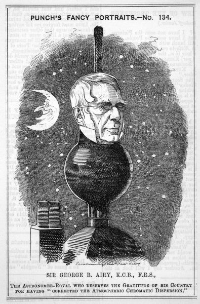 SIR GEORGE BIDDELL AIRY Astronomer Royal 1835-1881, depicted with the red 'time ball' of the Greenwich Observatory