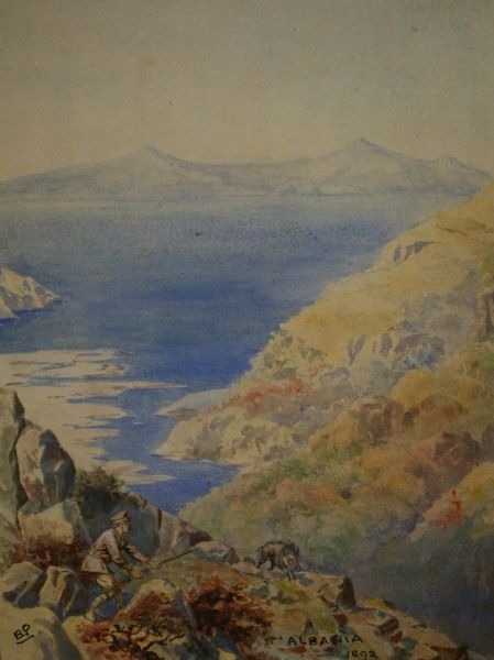 View of the sea from rocky cliffs in Albania.  1892