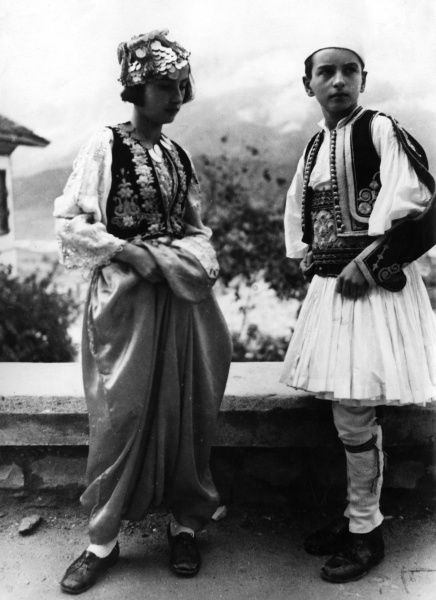 An Albanian boy and girl in traditional costume. Date: 1930s