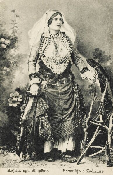 Albanian woman in traditional costume