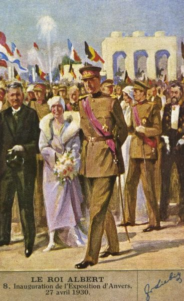 ALBERT I with queen Elisabeth inaugurate the Exposition at Antwerp, 27 April 1930. Date: 1875 - 1934