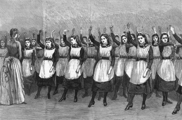 The Royal Masonic Institution for Girls puts on a display at the Royal Albert Hall; here, all the girls raise their right arms simultaneously