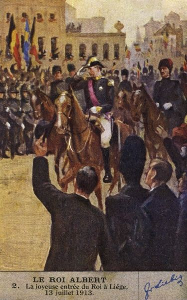 ALBERT I rides triumphantly into Liege, 13 July 1913 : he will be one of the most popular of kings. Date: 1875 - 1934