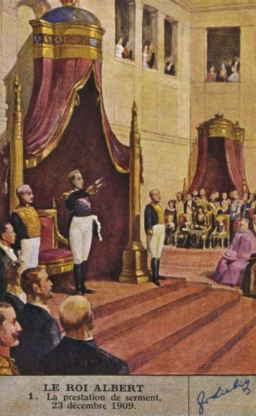 ALBERT I takes the oath of office on coming to the throne 23 December 1909. Date: 1875 - 1934