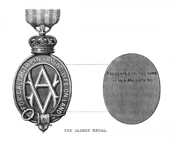 ALBERT MEDAL: Introduced on 7th March 1866. A Royal Warrant of 1867 created two classes of medal & in 1877 was altered to allow the saving of life on land to be eligible. Date: 1877