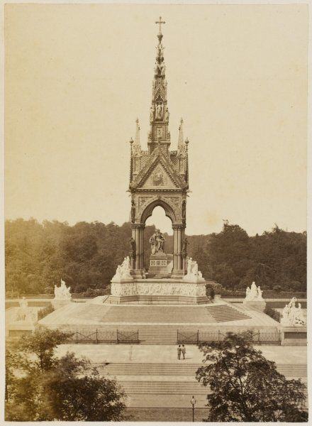 Designed by George Gilbert Scott. The main structure was completed 1868, edifice opened to the public in 1872. Albert's statue installed two years previous to this photo
