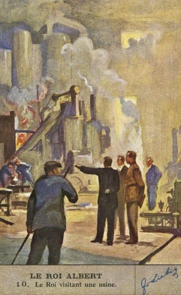 ALBERT I was a keen promoter of Belgian industry and commerce : here he visits a steelworks circa 1930. Date: 1875 - 1934