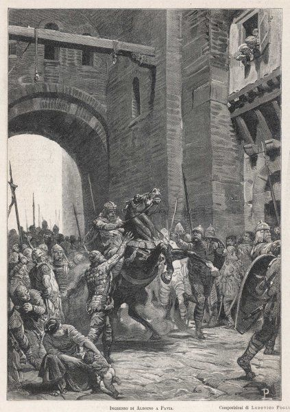 Alboin, King of the Lombards, takes Pavia in the course of his invasion of Italy