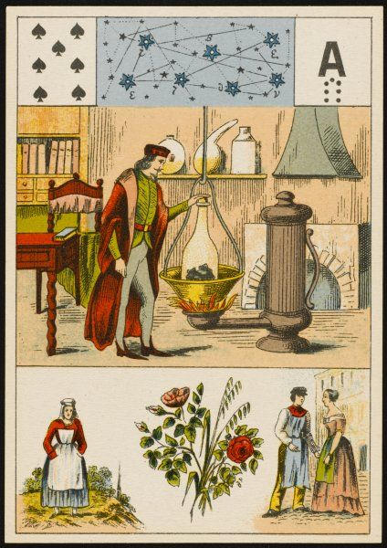 An alchemist distils from lumps of a black substance, depicted on a fortune teller's card