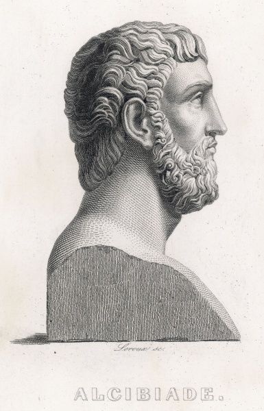 ALCIBIADES Athenian general ; though a friend of Socrates, he was dissolute in private and a traitor in his public life ; assassinated by the Persians