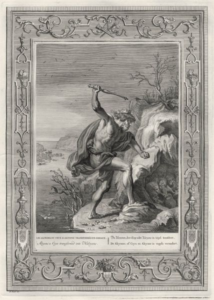 Ceyx, king of Trachis, drowns at sea but returns and wakes Somnus sleeping in his cave surrounded by dreams : Ceyx and his mourning wife Alcyone are changed into kingfishers