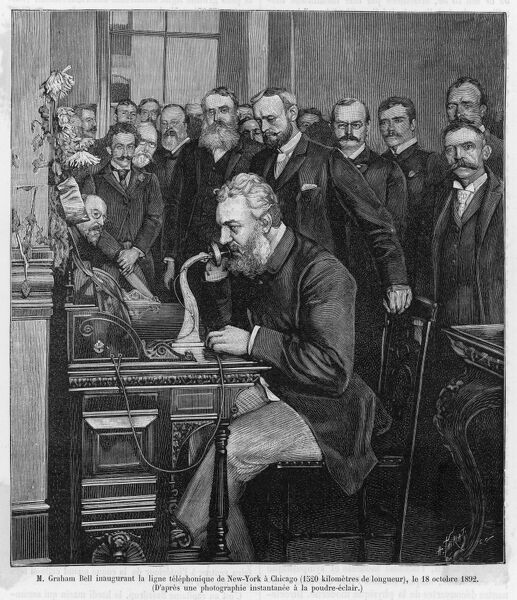 ALEXANDER GRAHAM BELL American inventor and educator inaugurates the New York- Chicago telephone on October 18th 1892