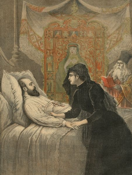 ALEXANDER III Tsar of Russia (1881-94) on his deathbed, watched over by his wife