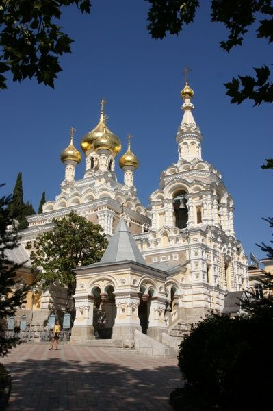 View of the Alexander Nevsky Cathedral in Yalta, Ukraine. It was built in 1902