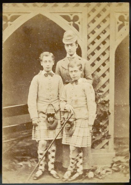 QUEEN ALEXANDRA Wife of Edward VII with her sons Albert (left) and George (right)