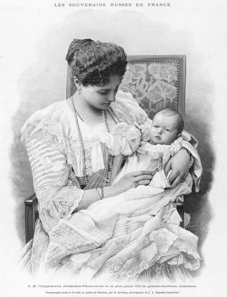 ALEKSANDRA FYODOROVNA Empress of Russia, wife of Tsar Nicolas II, with her youngest daughter, Anastasia
