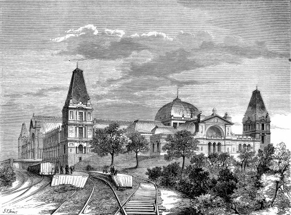 Engraving showing the exterior of the Alexandra Palace, Muswell Hill, London in 1875. The railway, which brought many of the visitors to the palace, is clearly visible in the foreground