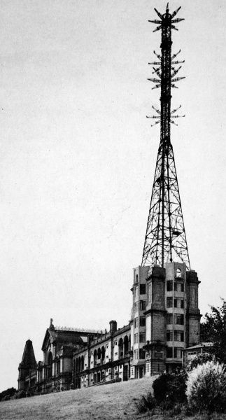 Alexandra Palace as the home of the B.B.C television service in 1936 showing the mast and transmitting aerials for vision and sound