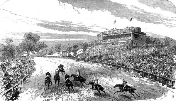 Engraving showing one of the horse races held at Alexandra Park, Muswell Hill, during the summer of 1868. The large stand is clearly visible on the right of the image
