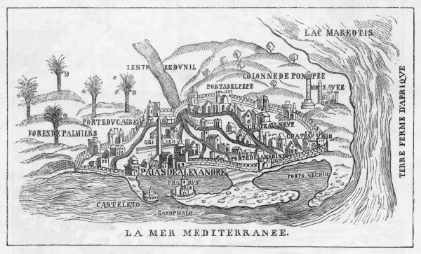 A fascinating early plan of Alexandria, showing the remains of Alexander's Palace, Pompey's Pillar, the Pharos, the city gates, the African coast and the Mediterranean