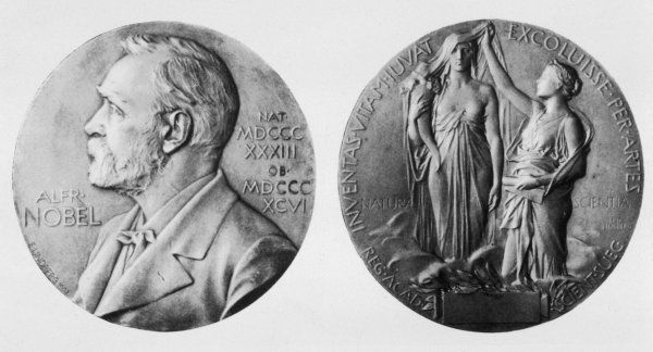 ALFRED NOBEL A profile portrait on a medal