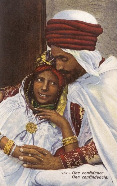 Algeria - A couple's tender moment, hand in hand Date: circa 1910s