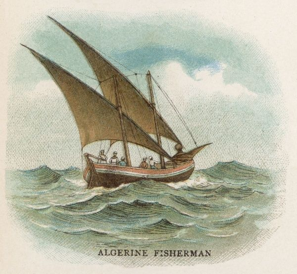 Two-masted fishing boat with lateen sails used by Algerian fishermen
