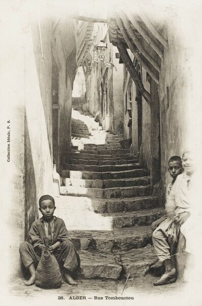 Children on the winding, climbing, Tombouctou Street, Algiers, Algeria
