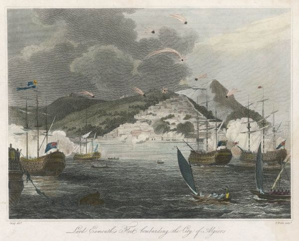 Algiers, notorious as the home port of pirates terrorising shipping in the Mediterranean, is bombarded by vessels of the Royal Navy commanded by Lord Exmouth.1yn