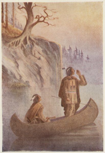 Two men of the Algonquin people in their boat