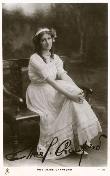 ALICE CRAWFORD Actress who played Shakespearean roles such as Charmian in 'Antony and Cleopatra'. She married Valentine Williams. Date: 1882 - 1931