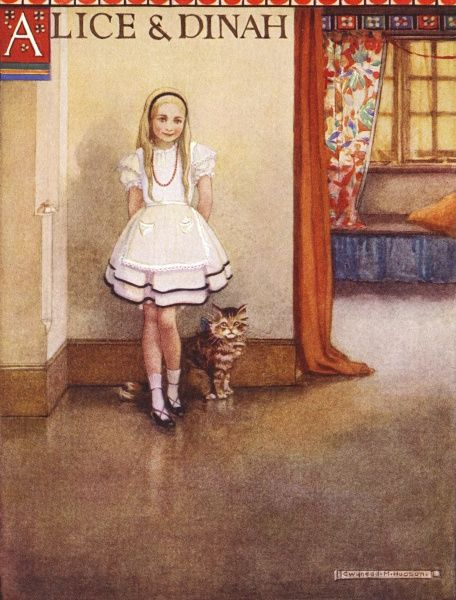 Alice and her cat Dinah. Date: First published: 1865