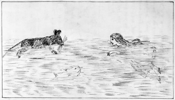 Alice swims in the pool of tears with a mouse and a fish. Hand drawn illustrations by Lewis Carroll from 'Alice's Adventures Underground', his story that pre-dated 'Alice's Adventures in Wonderland&#39