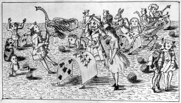 The croquet game, complete with hedgehogs, playing cards and misbehaving flamingoes. Hand drawn illustrations by Lewis Carroll from 'Alice's Adventures Underground', his story that pre-dated 'Alice's Adventures in Wonderland&#39