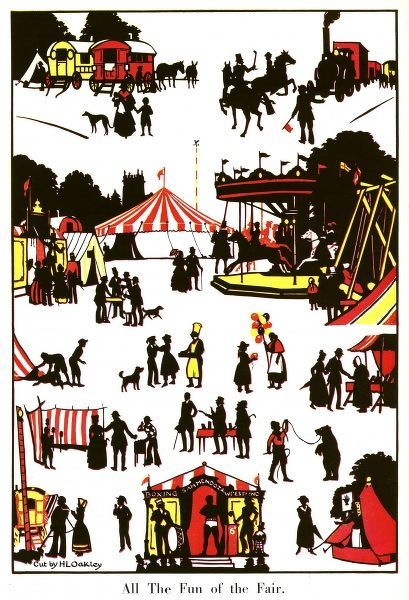 Charming silhouette cut by H. L. Oakley depicting a travelling fair pay its annual visit to a fair. Merry-go-rounds and coconut shys are shown alongside a fortune teller and performing bear