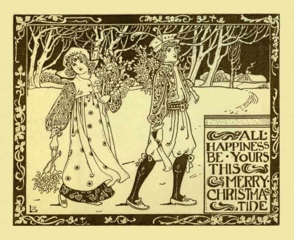 All happiness be yours this Merry Christmastide -- a man and woman carry holly and mistletoe home through the snow.  20th century