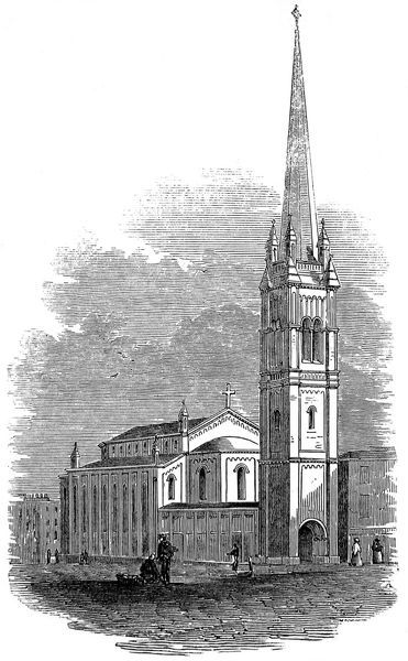 Engraving showing the exterior of All Saints Church, Lambeth, London, 1846