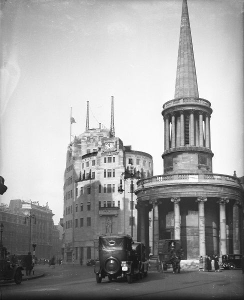 All Souls Church, Langham Place, with B.B.C. Broadcasting House behind