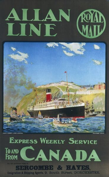 Poster advertising the weekly express service to and from Canada with the Allan Line Company. The ships also appear to deliver Royal Mail aswell
